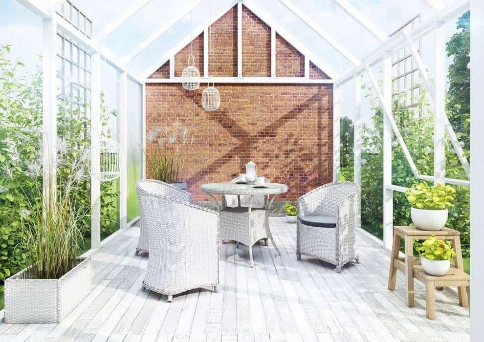 Stół okrągły – technorattan w ogrodzie