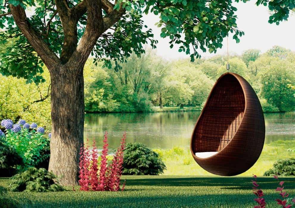 Fotel wiszący do ogrodu z technorattanu