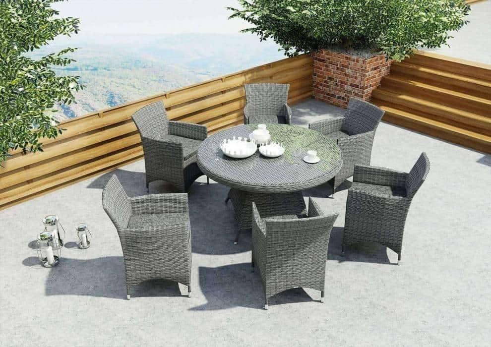 Meble ogrodowe technorattan szare – modne i praktyczne wyposażenie na taras i balkon