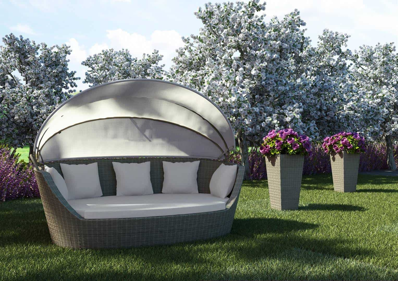 Na zdjęciu sofa ogrodowa z technorattanu - SOFA PORTOFINO