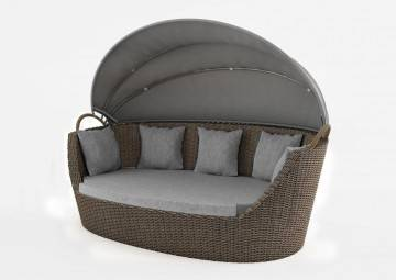 meble z technorattanu do ogrodu: Sofa ogrodowa PORTOFINO royal piaskowa