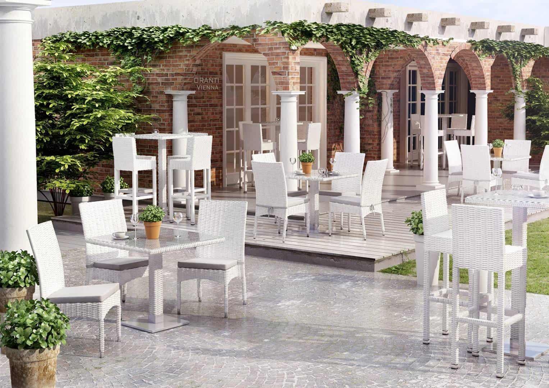 Krzesła ogrodowe białe Strato