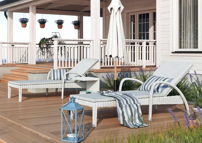 Białe meble ogrodowe - leżanka GRAZIA