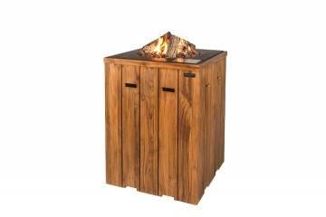 bez VAT!: Palenisko gazowe z drewna teakowego 76x76x100cm czarne