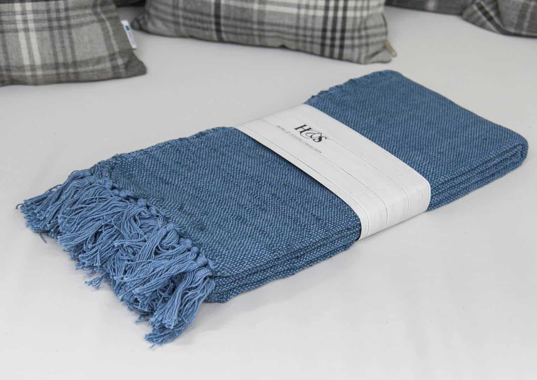 Pled bawełniany tkany kol. niebieski