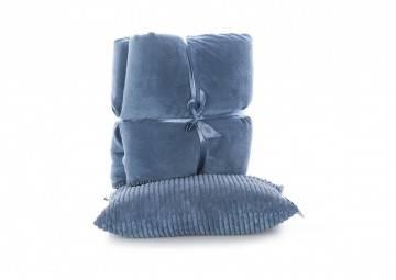 Zestaw Poduszka Stockholm+ Pled Tavi copen blue