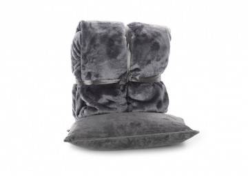 Zestaw Poduszka Milou + Pled Blush bark grey