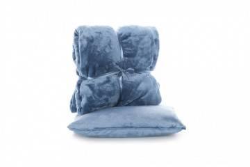 Zestaw Poduszka Milou + Pled Blush copen blue
