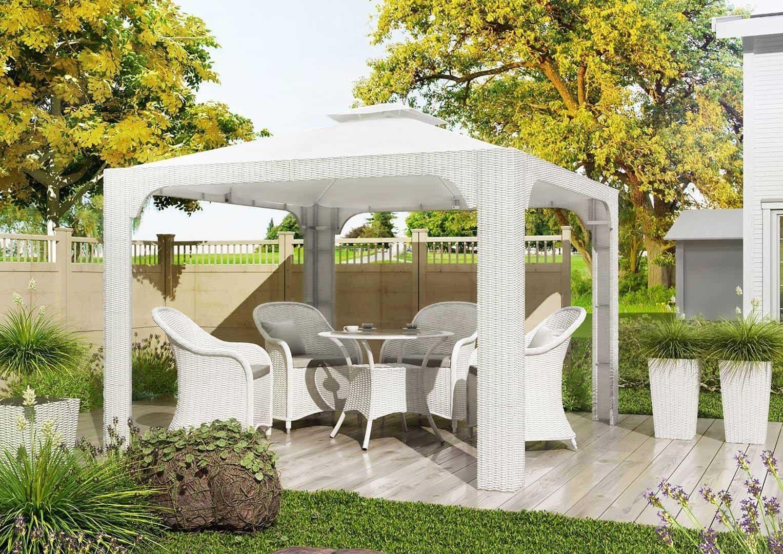 Na zdjęciu meble ogrodowe - MEBLE OGRODOWE BALDACHIM 3X3 ROYAL WHITE