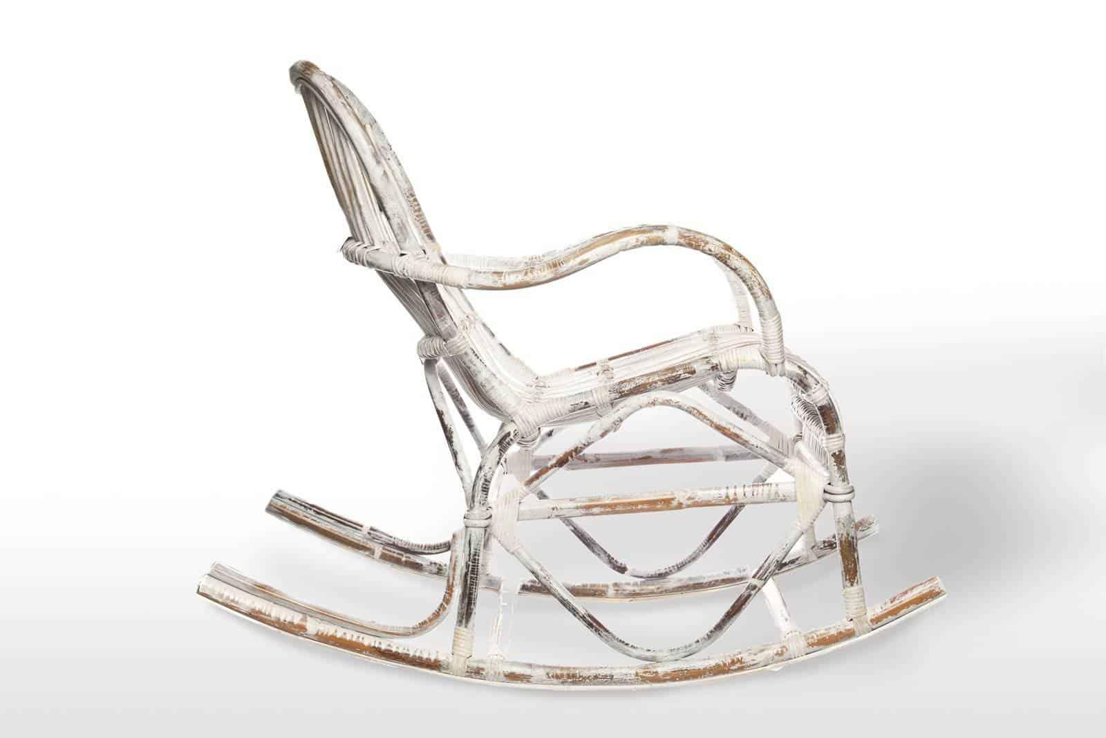 Fotel rattanowy bujany MARSEILLE white