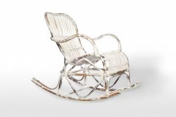 meble do ogrodu: Fotel rattanowy bujany MARSEILLE white