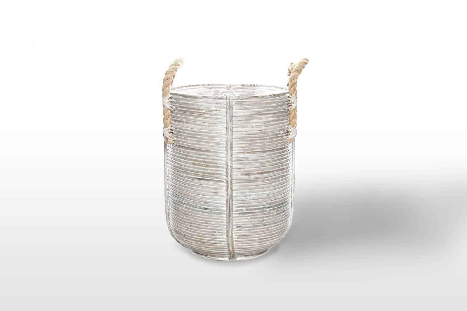 Kosz rattanowy AMIENS ⌀35cm x wys. 45cm white