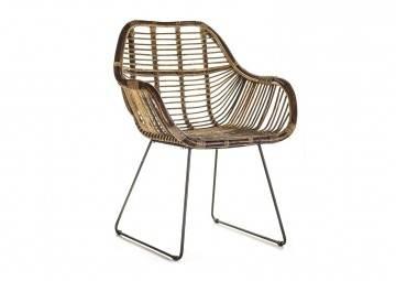 Krzesło rattanowe retro LAVAL grey
