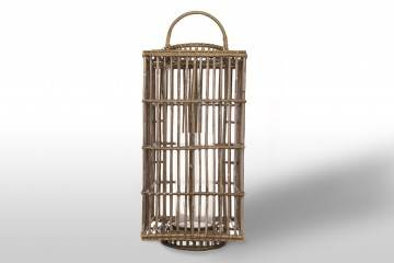 meble tarasowe: Lampion kwadratowy ROUSILLON sz.35cm x gł.35cm x wys.75cm grey