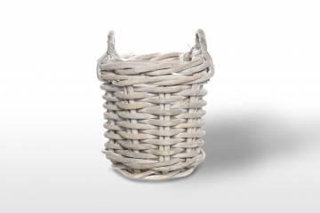 ekskluzywne meble: Kosz rattanowy RENNES ⌀35cm x wys. 35cm white