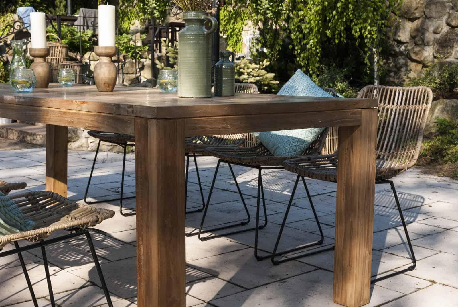 meble rattanowe do ogrodu i stół tekowy NIMES
