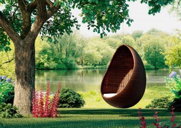 Huśtawka ogrodowa KOKON Modern brąz