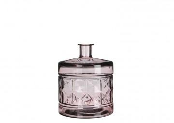 Butelka/naczynie szklane jasnoróżowe 26cm