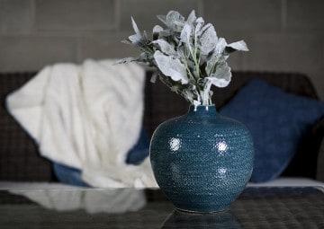 Butelka/naczynie ceramiczne 25cm niebieska