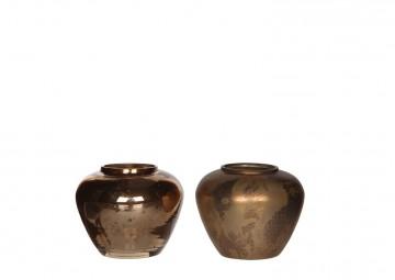 Zestaw świeczników brązowych 8cm