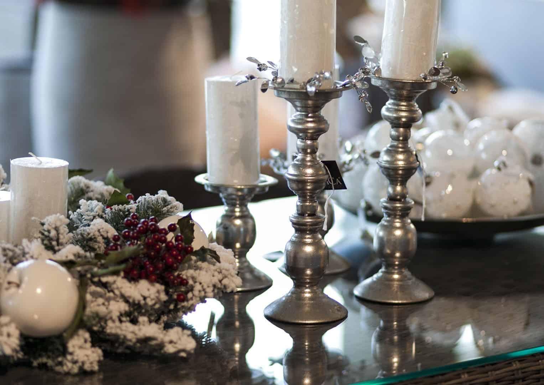 Świecznik żelazny srebrny 14cm