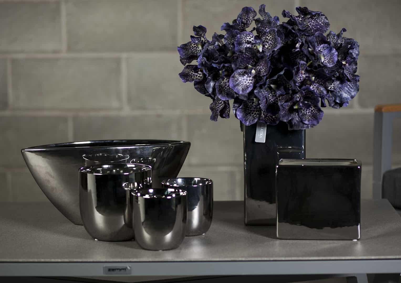 Naczynie ceramiczne srebrne 15cm