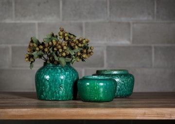 Waza z terakoty zielona ⌀21,5cm