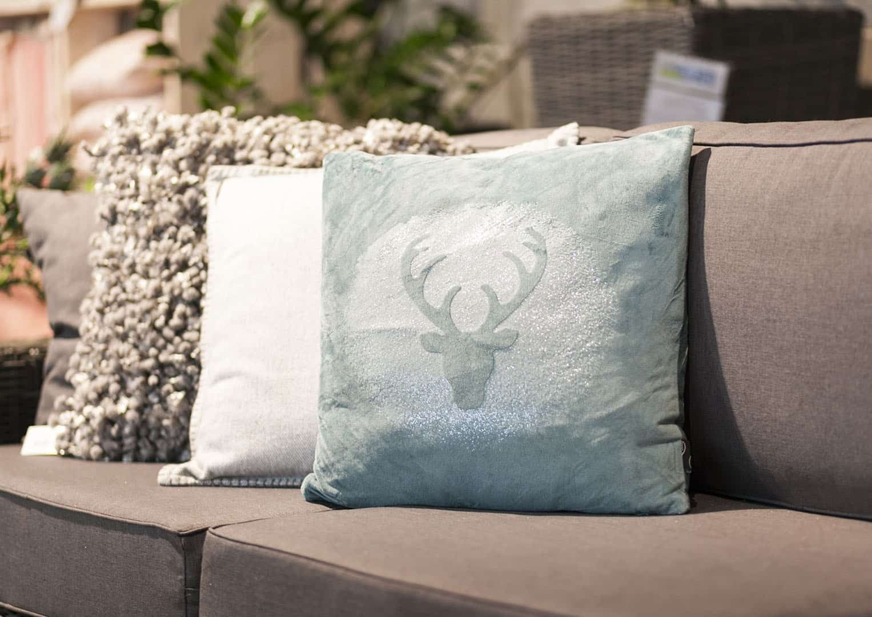Poduszka dekoracyjna Glitter Rudolph mineralny niebieski 45cm