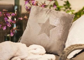 Poduszka dekoracyjna Glitter Star ciemnoszara 45cm