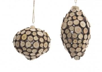 Bombka dekoracyjna oklejona drewnem