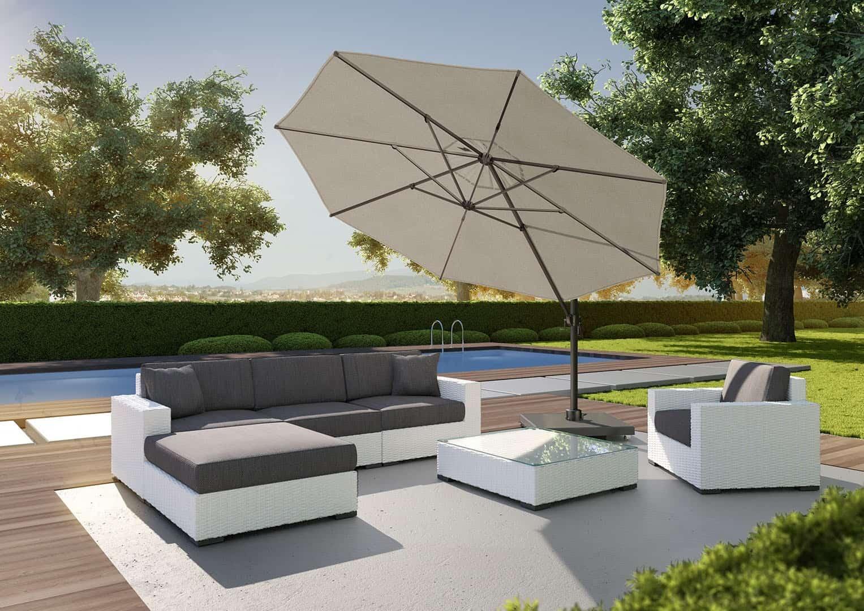 Białe meble z technorattanu i parasol ogrodowy FALCON