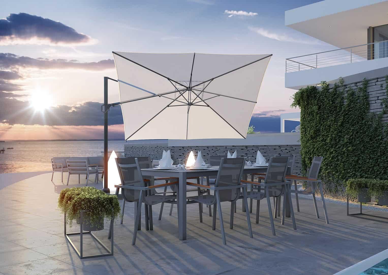 parasol CHALLENGER i aluminiowe meble ogrodowe
