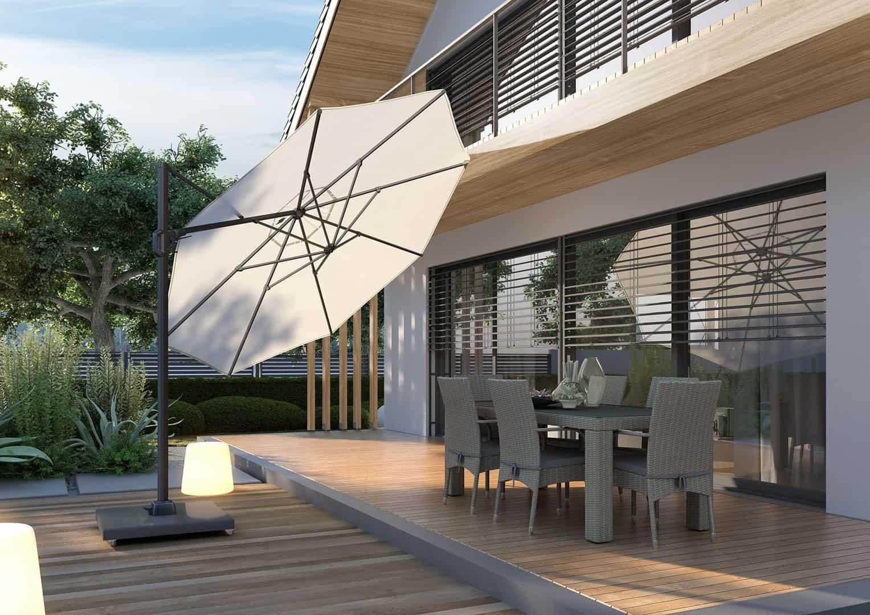 inspiracje taras: nowoczesne parasole ogrodowe CHALLENGER