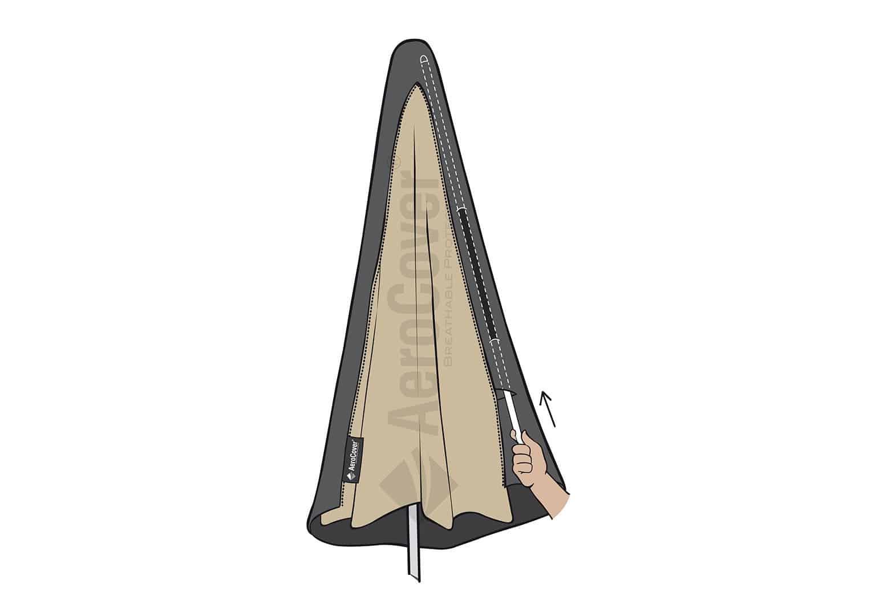 Pokrowiec na parasol ogrodowy z nogą boczną 292x65cm