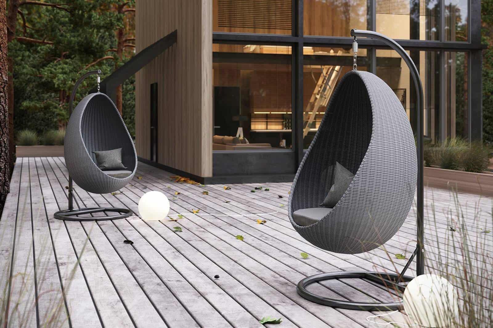 taras w stylu nowoczesnym: fotel wiszący KOKON