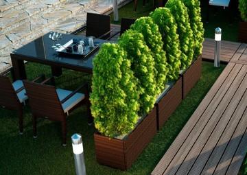 zestaw ogrodowe: Donice z technorattanu na balkon RUBIC Modern brąz 50cm