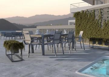 Nowoczesne meble na balkon ALICANTE teak - STONE&WOOD