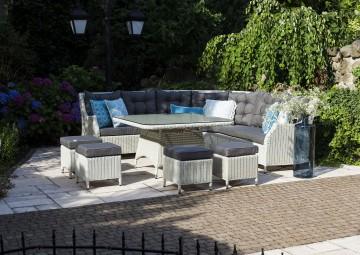 meble z technorattanu do ogrodu: Zestaw mebli ogrodowych SIENA royal biały