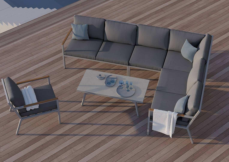 Meble ogrodowe LUGO 3- STONE&WOOD ciemne poduszki OUTLET