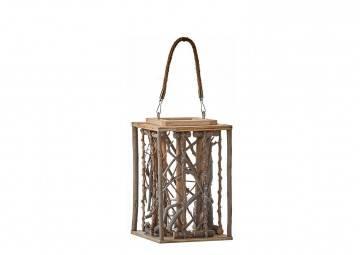 Lampion drewniany 17cm biały