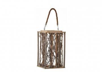 Lampion drewniany 21cm biały