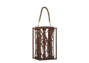 Lampion drewniany 21cm brązowy