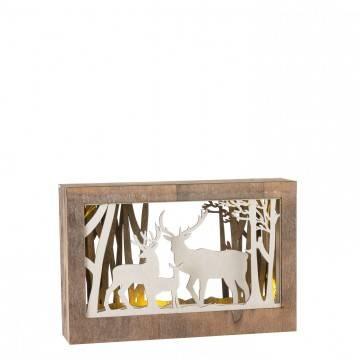 Drewniany zimowy obraz podświetlany Renifery