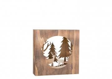 Drewniany zimowy obraz podświetlany Choinki