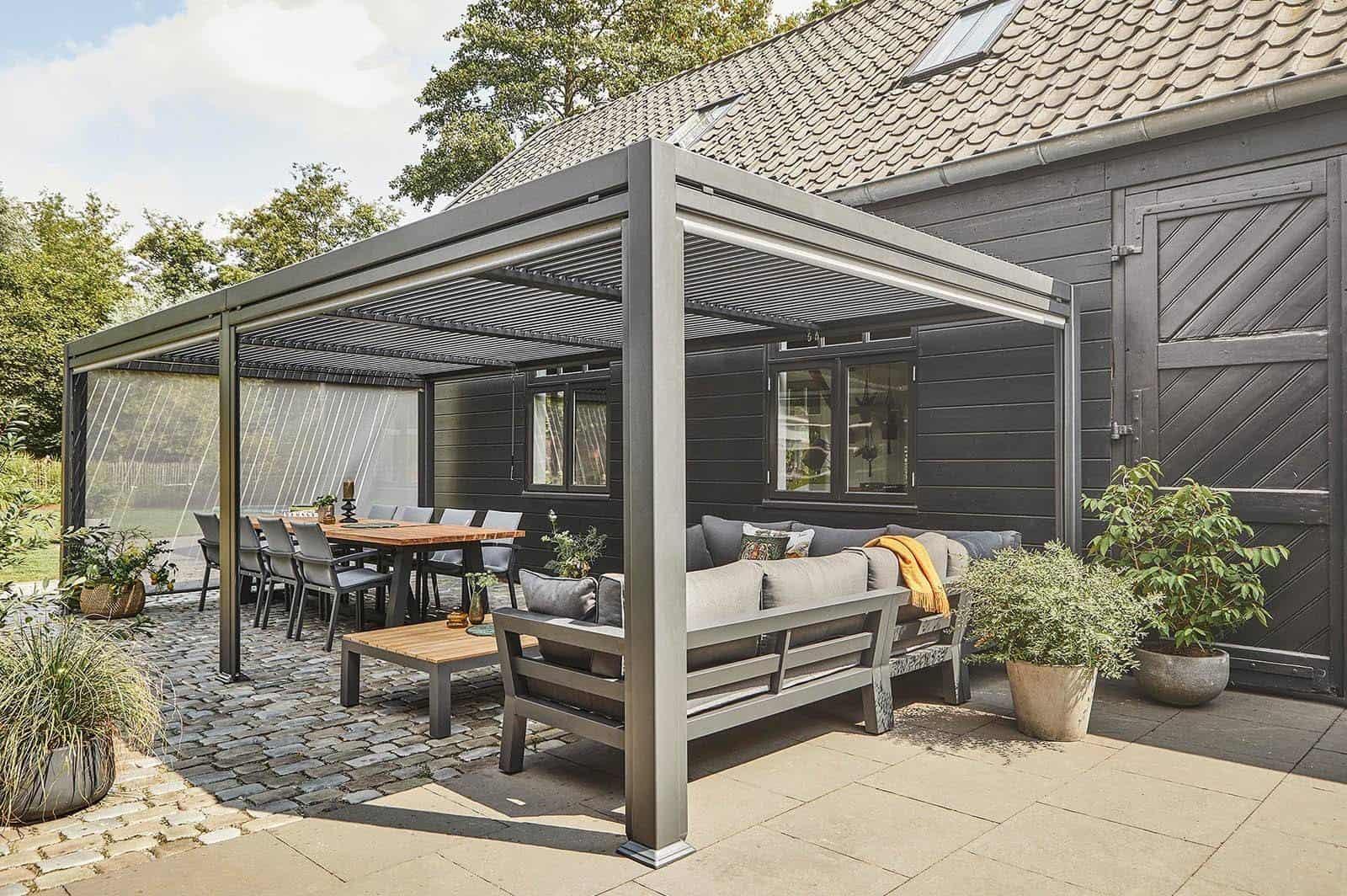 Minimalistyczny ogród i zadaszenie tarasowe MARANZA 720cm GREY