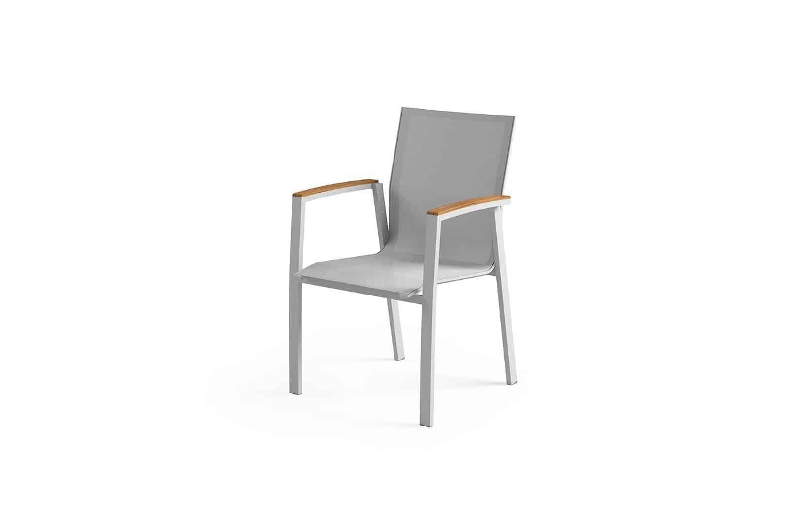 Krzesło ogrodowe LEON teak light grey