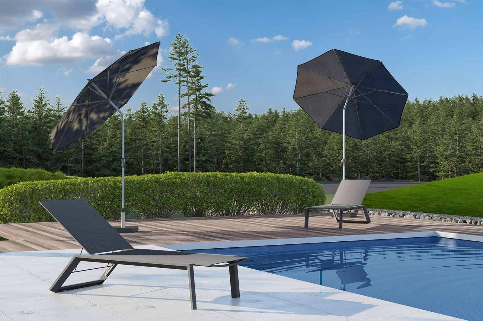 leżaki ogrodowe MURCIA z parasolami Platinum