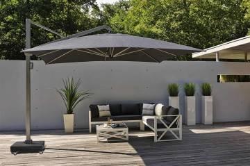 Parasole ogrodowe z boczną nogą: Duży parasol ogrodowy prostokątny Icon 4m x 3m