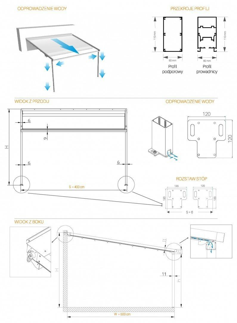 Zadaszenie tarasowe OMBRA 7x4m antracyt/krem 57