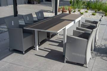 Zestaw ogrodowy stół TOLEDO + MERIDA light grey